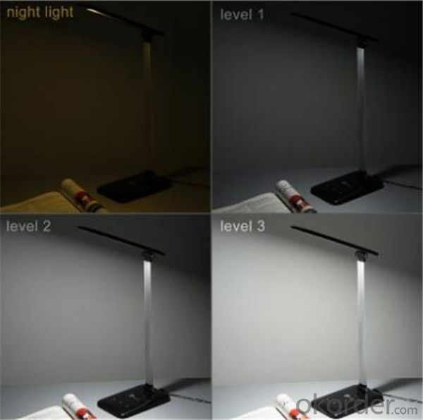 LED Desk Lamp Black Plastic + Silver Aluminum Alloy Finish