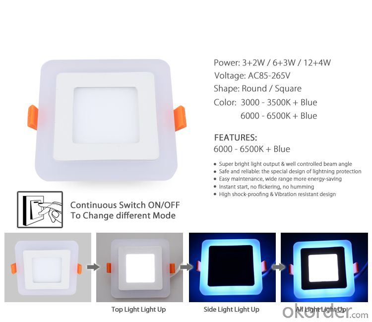 LED PANEL LIGHT DOUBLE COLOR 6 AND 3 W SQUARE SHAPE RECESSED TYPE BLUE AND 6000K