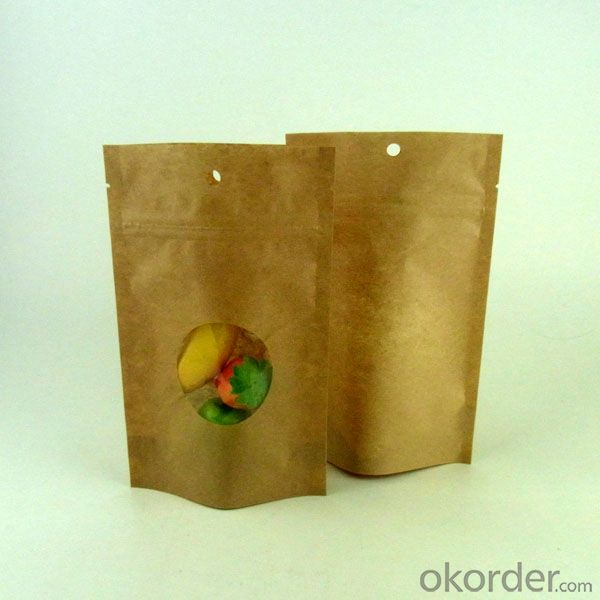 Stand Up Pouch Craft Paper Laminated Bag with Window for Packing