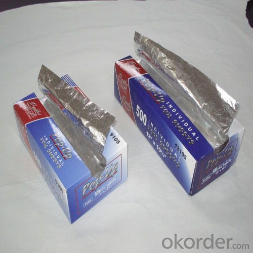 Pop-Up Aluminum Household Foil Sheet for Food Wrapping