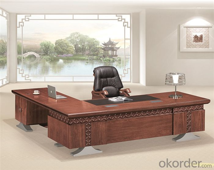 Wooden Executive Desk with Veneer Painting