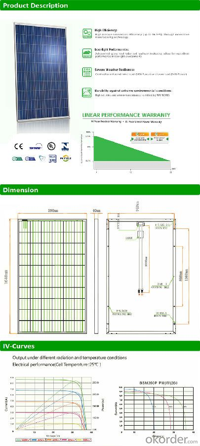 Poly 260w solar panel price A grade PV panels