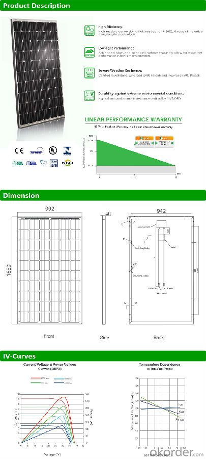 Mono 265w solar panel price A grade PV panels