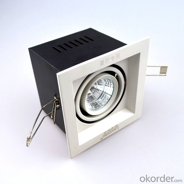 Square Led COB Grille light 6W white and black housing