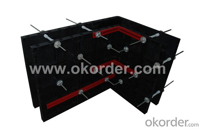 Black Plastic Modular Concrete Wall Formwork Panel for Straight Wall