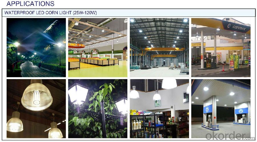 Waterproof LED corn light: Up to IP64 waterproof index, more than 110lm/w, 360° beam angle