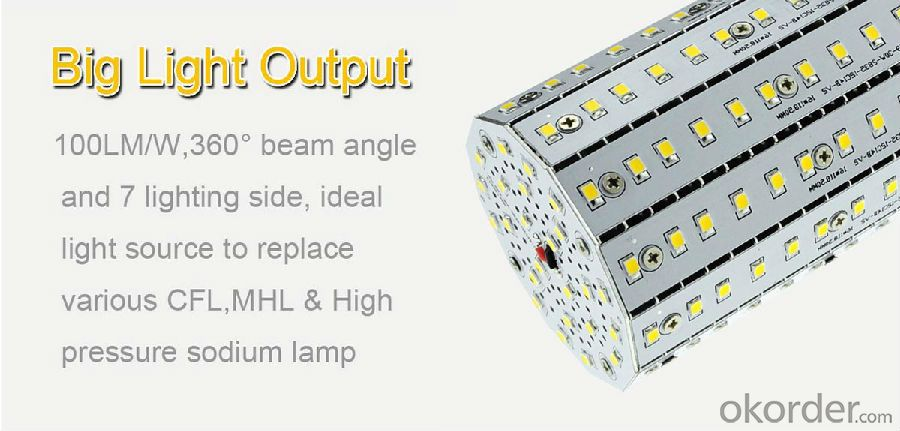 LED Fin series corn light: More than100lm/w, lower weight, lower temperature rising