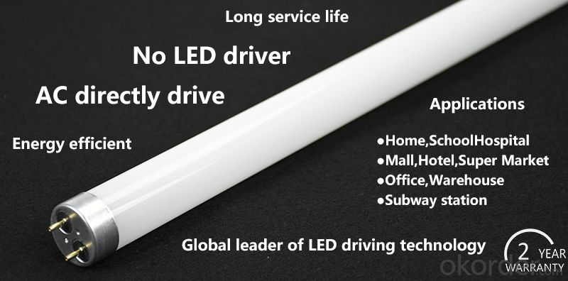 AC drive LED T8 tube Super long service life high luminance