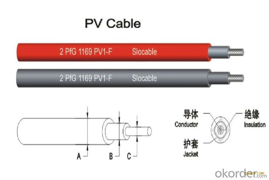 TUV solar cable for photovoltaic system single core pv cable 1x6
