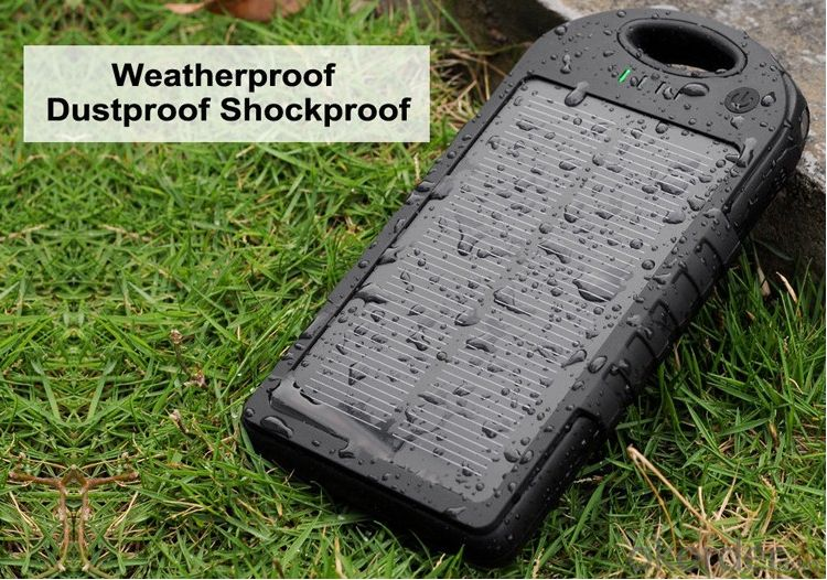 Solar Power Bank 5000mAh Outdoor Waterproof with Flashlight for Portable Devices