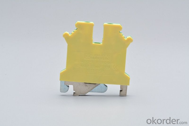 Din Rail Screw GroundingTerminal Blocks 2.5 mm2 32A Color Green&Yellow