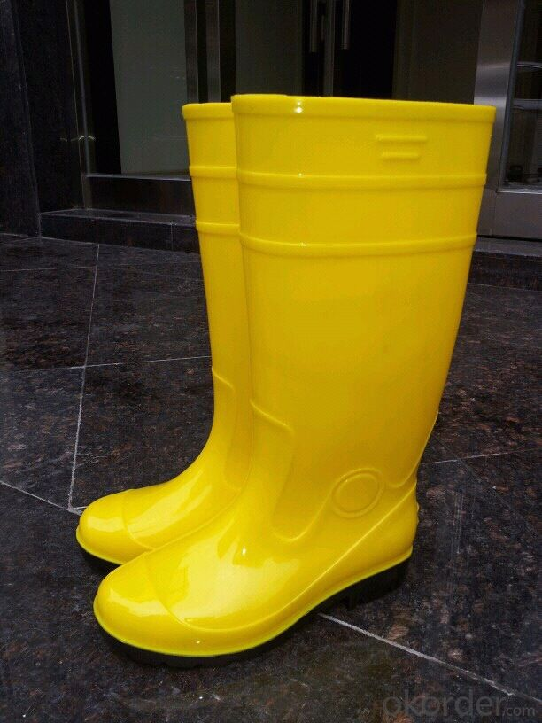 Yellow PVC Safety Boots with Steel Toecap and  Midsole CE EN20345