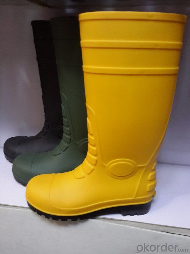 Yellow PVC Industrial Safety Gumboots with Steel Toecap and  Midsole CE EN20345