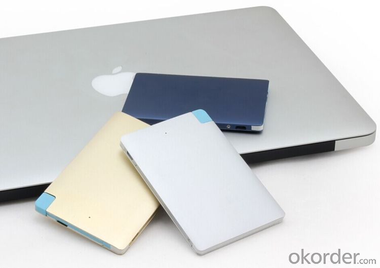 Printing Logo ultra slim credit card 2600 mah power bank with build in cable charger Aluminum Alloy