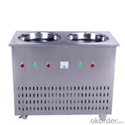 2 Pan Durable Fry Ice Cream Machine with Good Quality