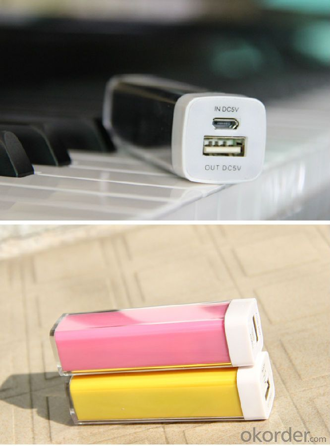 Charger fashional portable Lipstick Power Bank 2000mAh with real Capacity