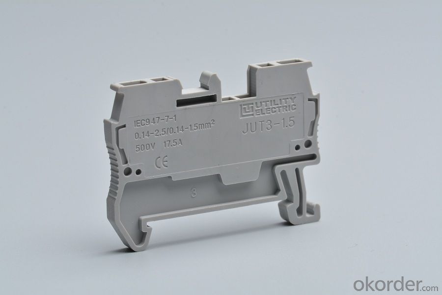 Din Rail Spring Terminal Block Connectors 500V 17.5A  26-16 AWG
