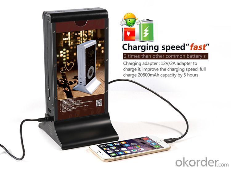 Power Bank Hot Selling Restaurant Coffee Shop Bar 20800mAh for ktv and bars with advertising poster