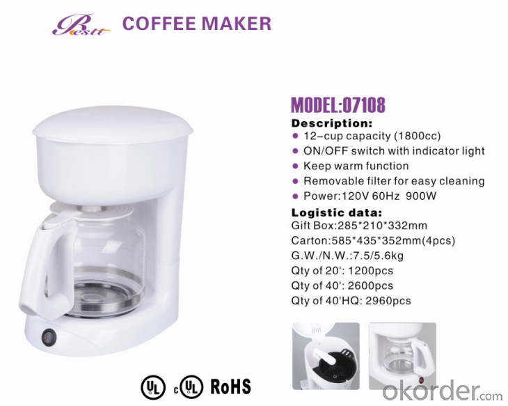 12-cup America style drip coffee maker -07108