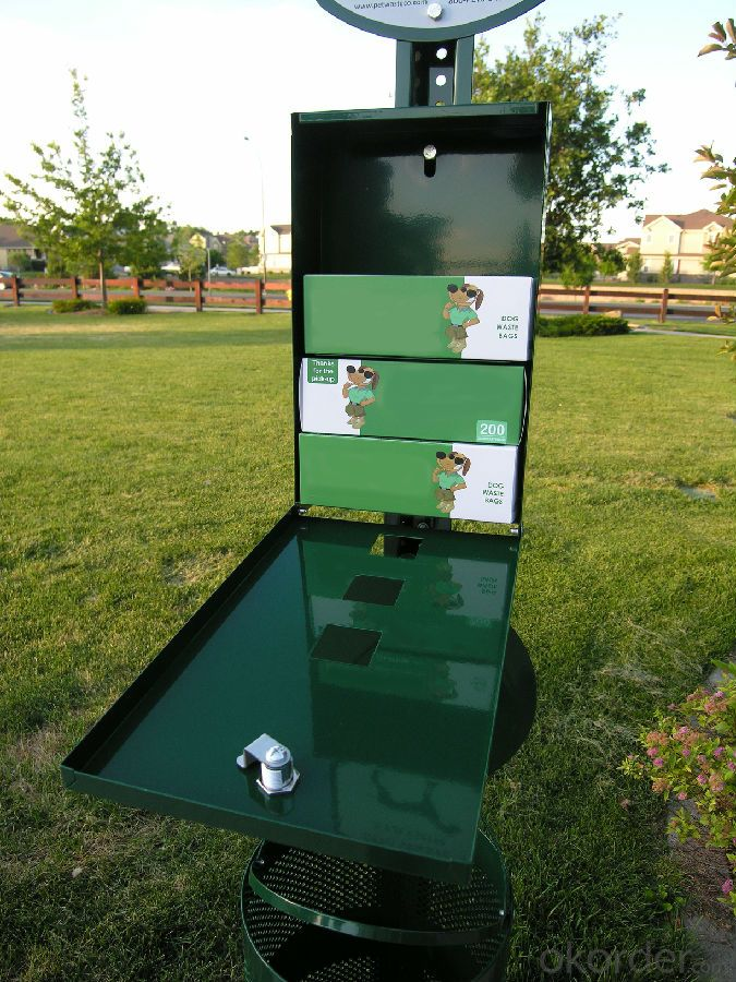 Aluminum Pet Waste Station for Pet Waste Disposal with Roll Bags Power Coated Green Color