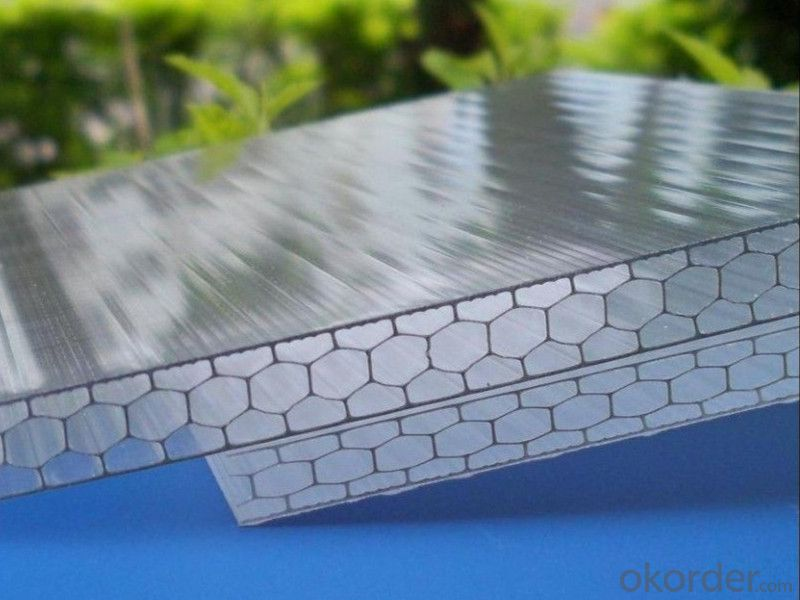 6mm,8mm,10mm thickness colored honeycomb polycarbonate hollow sheet for greenhouse