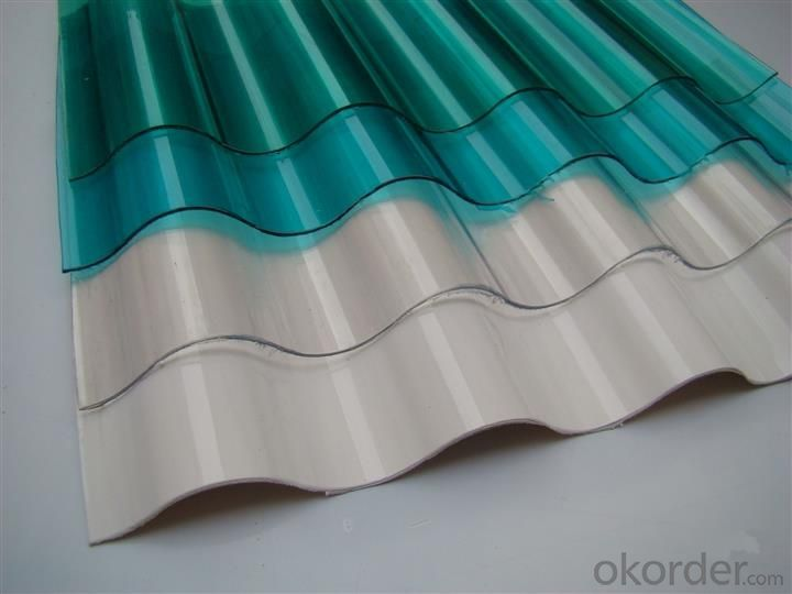 Polycarbonate corrugated sheet with 100% virgin material