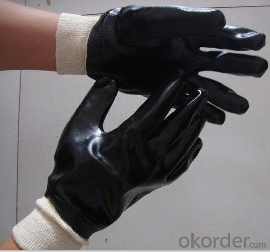 M101-01Black PVC Coated Gloves Knit Wrist Smooth Protect Hand