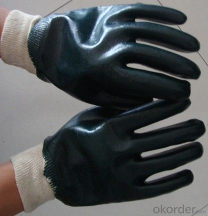M101-01dak green PVC Coated smooth knit wrist glove for working