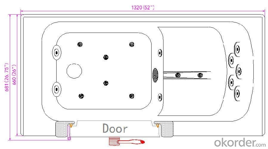 Acrylic dual massage outward swing door walk in tub-K112