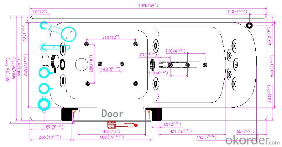 Dual massage outward swing door walk in tub-K111
