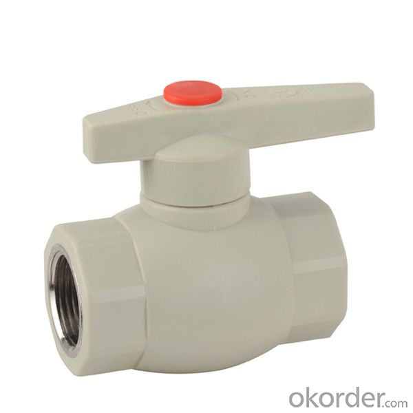 F2 type PPR single female threaded ball valve with brass ball