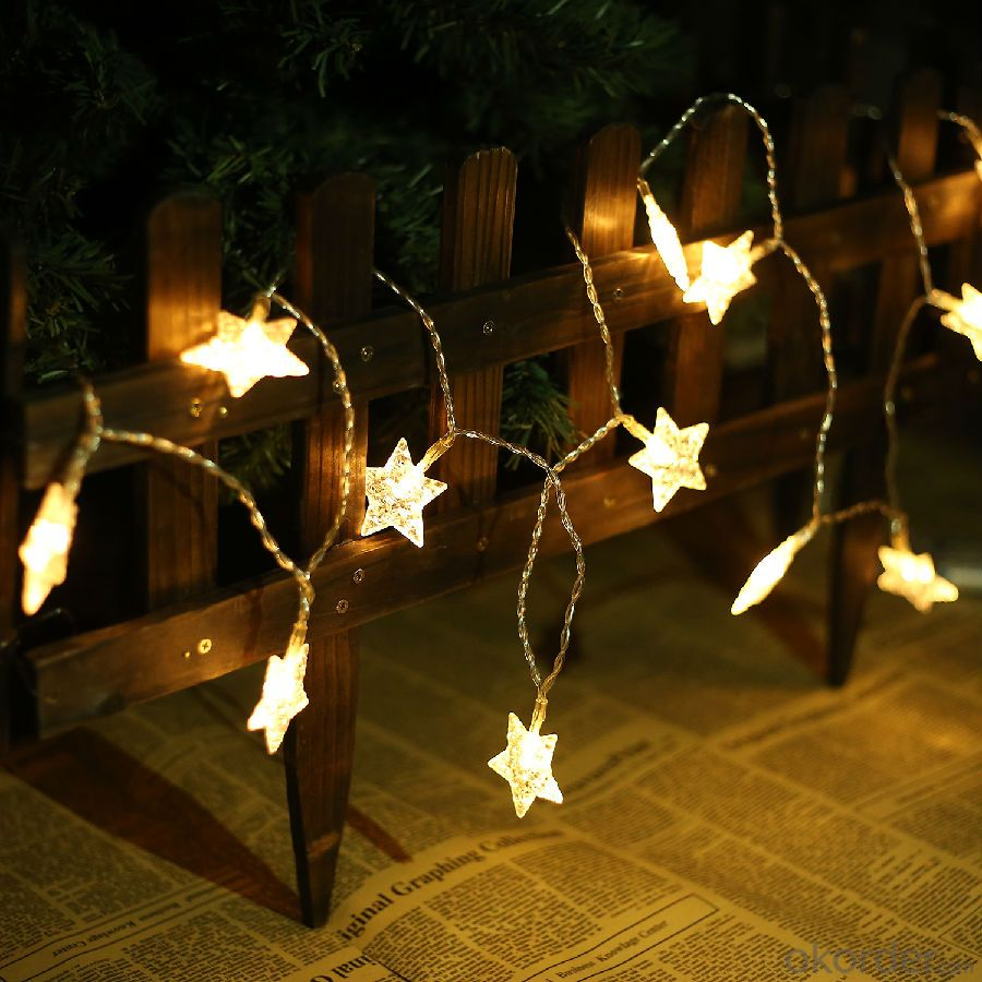 Blue Color Copper Wire LED Christmas Star String Light