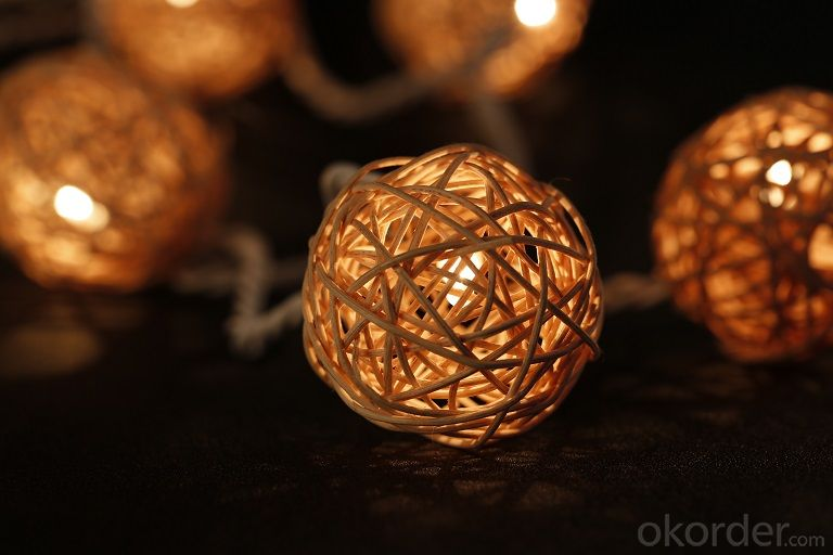 Led Rattan Balls Multicolor Cotton String Lights for Outdoor String Lights