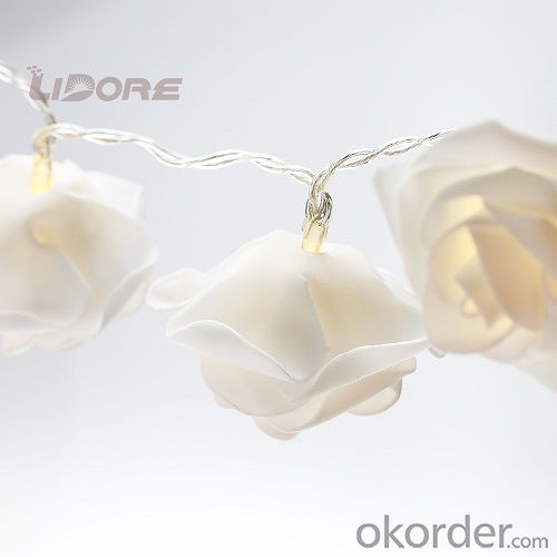 Battery Operated LED Fairy String Lights White Rose LED for Party, Wedding