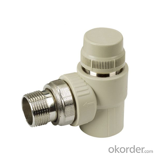 PP-R elbow stop valve with temperature control  by hand