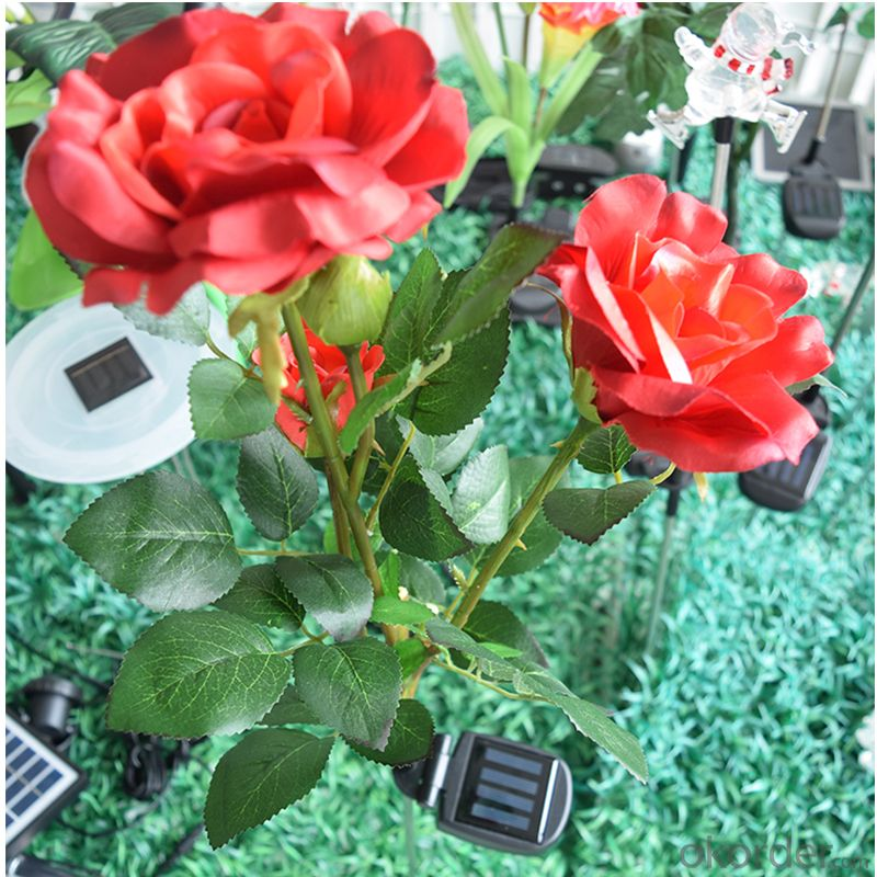 EVA Material Solar Flower Light Solar Rose for Decoration