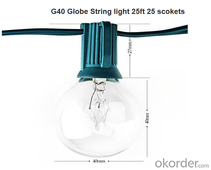 Buy 25 Foot G40 Outdoor Lighting Patio Globe String Lights, Green Wire, 25 Clear Bulbs Price ...