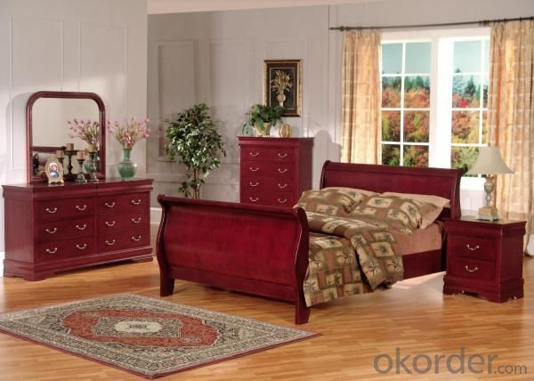 Wine Red Color American Bedroom Furniture Set