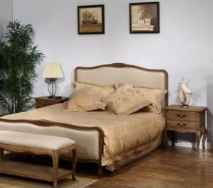 Solid Wood Bedroom Furniture Set with Elm Natural Oak Color