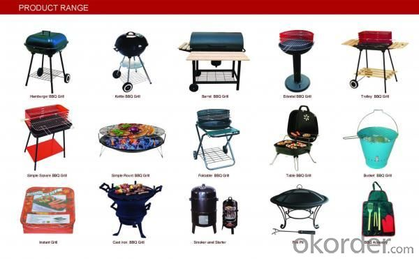 Barrel Charcoal BBQ Grill with Trolley--B1814B
