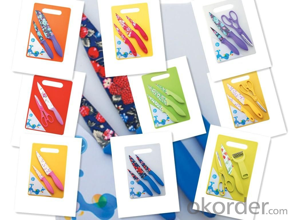 Home Appliance Durable Colored Non-stick Knife Set