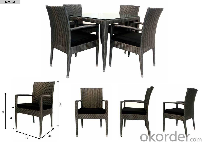 Aluminum Rattan Dining Table Set  DT030