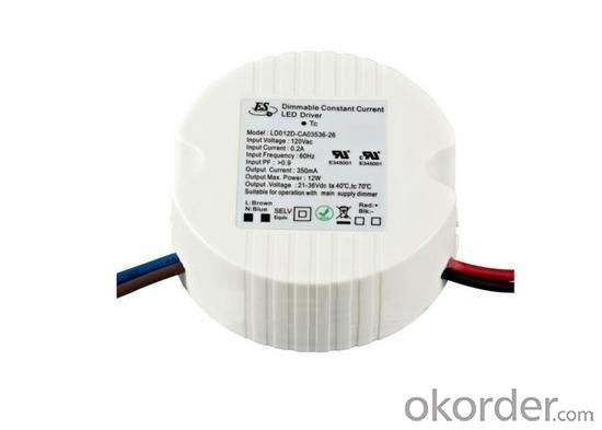 Dimmable LED Power Supply by Triac dimmer 120VAC 12 Watt 350MA