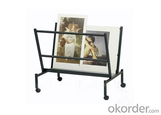 Steel Print and Poster Holder Display Rack With Locking Casters