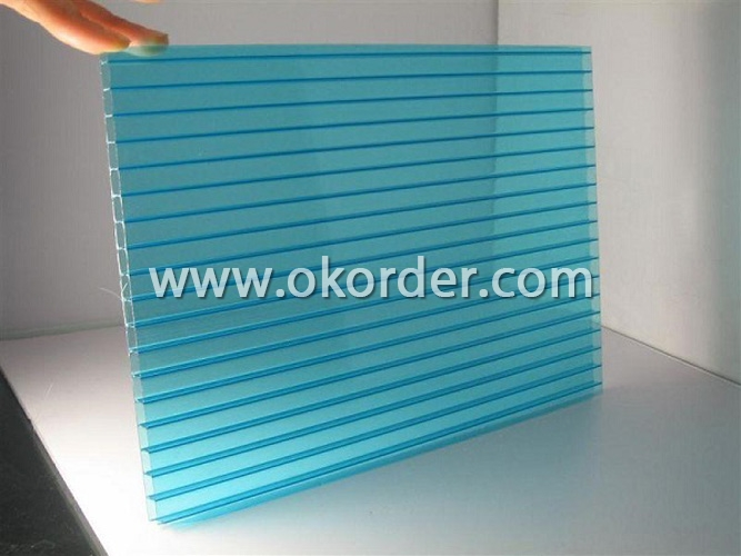 Twin-Wall Polycarbonate Sheet with UV protection-blue color