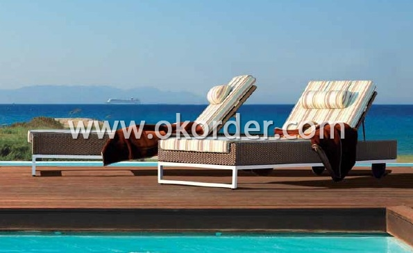 Aluminum Rattan Lounger Bed