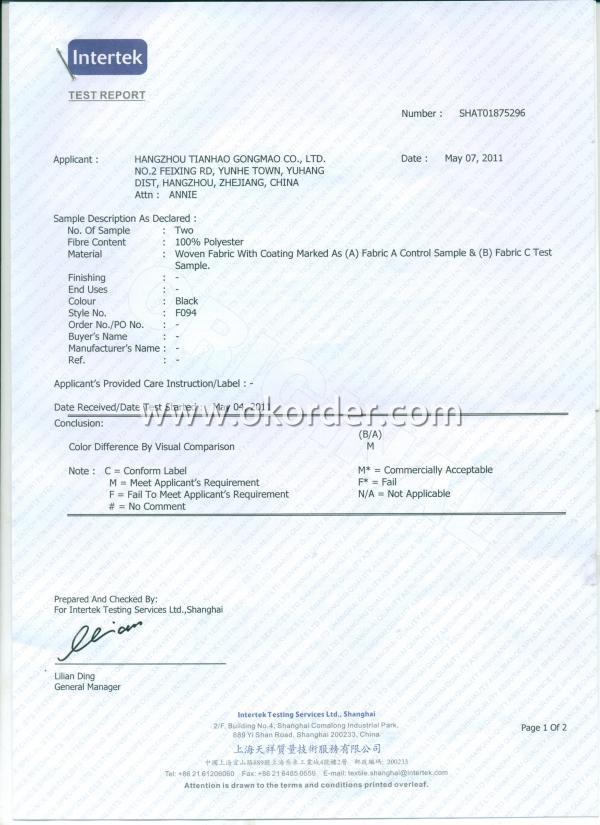 Fabric test report