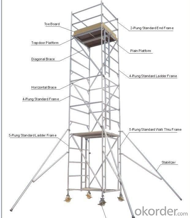 Aluminum Scaffold Parts : Buy aluminum mobile scaffolding price size weight model