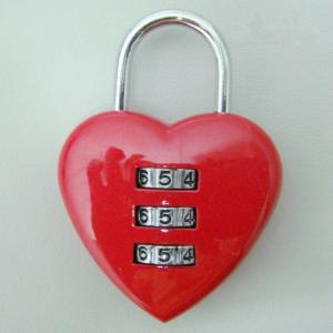 Heart Shape Combination PadLock Handbags Lock