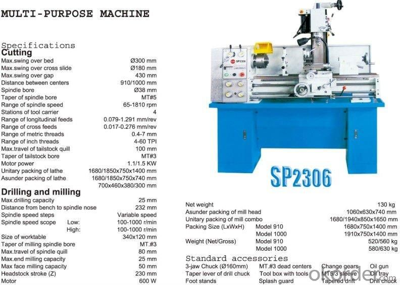 Lathe Mill Combo Machine SP2306